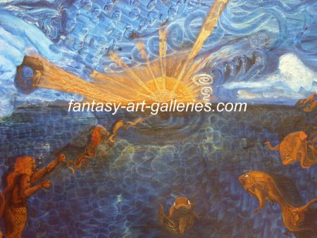 GODS VIEW: Unique and original fantasy art by JAG. Gods View is apainting of a fantasy landscape depicting the journry made by various creatures and souls back to God...